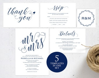 Navy Blue Wedding Invitation Template, Wedding invitation template, Wedding Invite, Kraft wedding Invitation, instant download, WPC_112SD1B