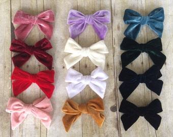"SET of( 12) 4.75"" Velvet Bows,  Big pinwheel knot hair bows clips, Large pack of girls hairbows"