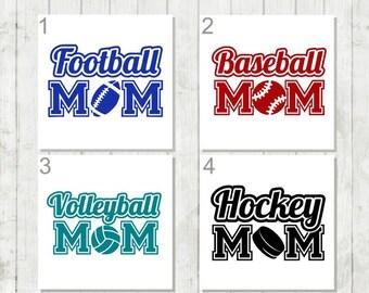 Sports Mom Decal,Hockey Mom Decal, Baseball Mom Decal, Vinyl Decal