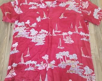 Vintage Red Hawaiian Shirt Mr.Florida Size Medium 15-15 1/2