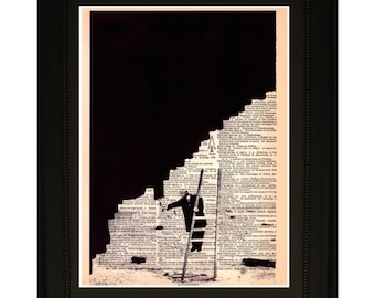 "Persistence"".Dictionary Art Print. Vintage Upcycled Antique Book Page. Fits 8""x10"" frame"