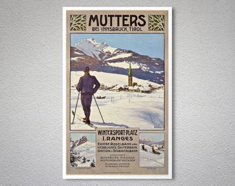 Mutters Bei Innsbruck, Tirol   Vintage Travel Poster   Poster Print,  Sticker Or Canvas