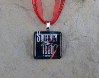 Broadway Musical Sweeney Todd Glass Pendant and Ribbon Necklace