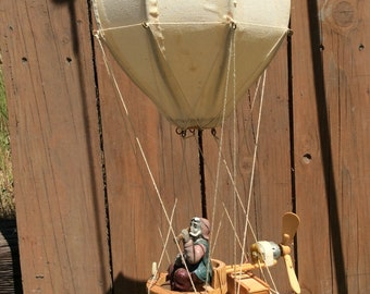 Vintage Battery Operated Handmade Wood Flying Air Balloon Explorer man