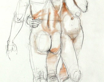 Nude pencil drawing with terracotta pastel. Life sketch. Two figures, male & female. Dancing nudes, couple.  Art by Nancy Farmer. 27-4-13-d