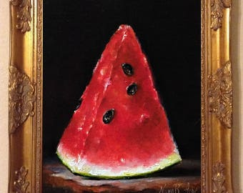 Watermelon Slice Original Oil Painting by Nina R.Aide Fine Art Studio Gallery Fruit Fine Art Small Painting