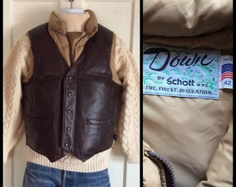 1970's Schott Full Grain Leather Down Winter Puffy Puffer Vest size 42 Tan and Brown NYC