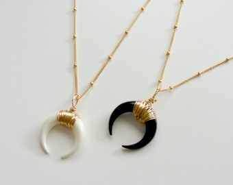 Beaded Chain Horn Necklace, Double Horn Necklace, Gold Crescent Moon Necklace, Layered Boho Necklace, Silver Bone Tusk Necklace