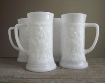 Milk Glass Beer Steins , Set of 4 Embossed Beer Mugs , White Milk Glass Tankards , Vintage Barware Tavern Pub Decor , Holiday Entertaining