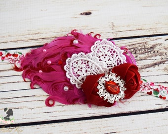 Handcrafted Romantic Pink Red and White Vintage Style Feather Headband - Valentines Baby Headpiece - Cute Heart Heart - Fancy Toddler Bows