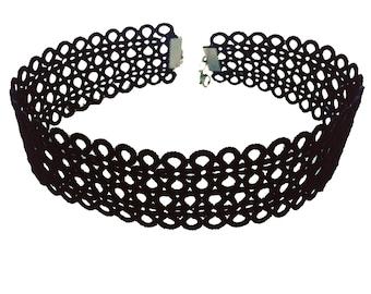 Black Lace Choker, Chic Choker, Tatting jewelry, Tatted necklace, Boho Black Choker, Black lace necklace, Steampunk choker, Collar necklace