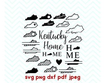 Kentucky svg, State svg, Home, Love, Split, Circle Monogram, Cricut Files, Silhouette Files, Vinyl Cut File, Iron on decal, dxf, pdf