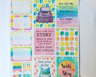 My Story - Planner/journal stickers (Full and half boxes)
