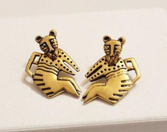 Vintage Panther Earrings By Laurel Burch