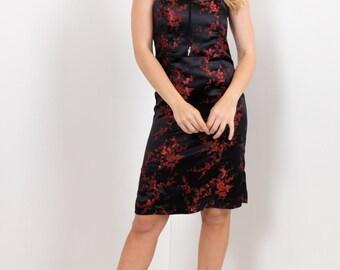 90s Black & Red Oriental Jacquard Satin Strapless Dress / Cherry Blossom New Wave Party Dress