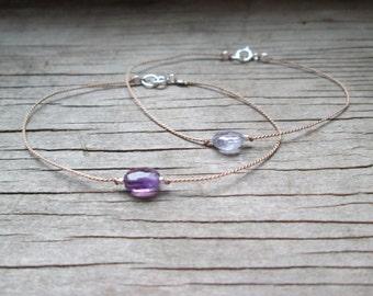 delicate AMETHYST or IOLITE gemstone bracelet on a thin silk cord with fine silver nuggets dainty layering minimalist