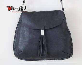 Black Italian Leather Shoulder Bag with Oversized Tassel