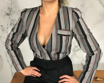 Vintage Striped Blouse | Double Breasted Shirt Jacket | S
