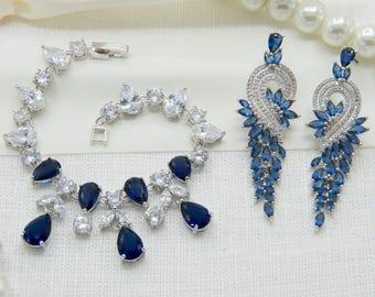 Sapphire Bracelet, Blue Bracelet, Bridal Accessory, Sapphire Jewelry, Navy Blue Jewelry, Diamond Bracelet, Wedding Bracelet, Navy Jewelry
