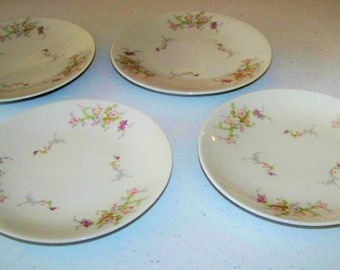 Jackson Featherweight China Set Of Four Floral Plates