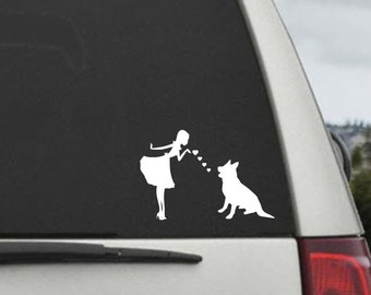 Pinup Girl with German Shepherd Dog Decal- German Shepherd Mom Blowing Kisses Decal -- Car Window Decal Sticker