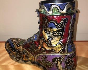 Hippie Boot Sculpture