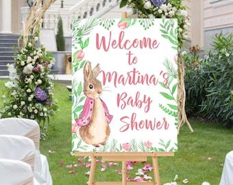 Printable Baby Shower sign, Peter Rabbit Welcome sign, Printable Baby Shower Welcome sign, Peter Rabbit decor, Peter Rabbit baby shower sign