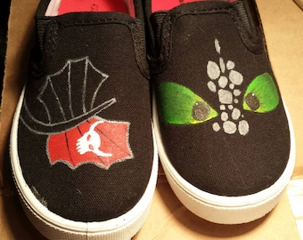 Toothless hand painted shoes!