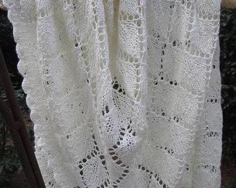 MOTHERSDAY Shimmering Ivory Silk Merino Lace Shawl