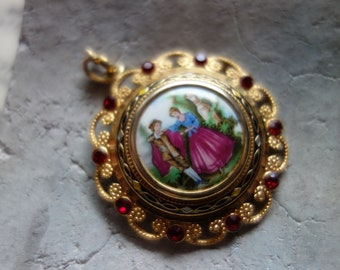 Chain Pendant-Glass cabochon, vintage-with red glass stones, without chain, baroque, Rococo motif-for Castle ball-Damascene type border-