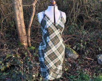 Olive Green Tartan Kilt Dress