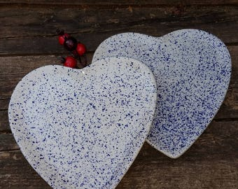 Set of 2 Heart Shaped Splatter Plates Made in Portugal for R H Macey