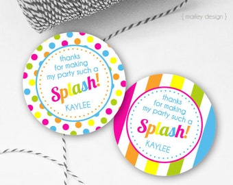 Pool Party Favor Tags Pool Party Tags Printable Splash Party Tags Splash Tags Thank You Tags Girls Birthday Birthday Tags Pool Party Decor