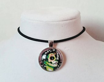 Gothic Choker Punk Rock Choker Gothic Necklace Black Choker Dead Girl Pendant Day Of The Dead Choker Sugar Skull Necklace Zombie Necklace