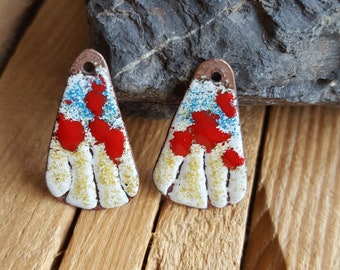 Pair of charms in enameled copper, Bohemian, triangle, flowers, red, copper, oxidized, component, jewelry, dangle earrings - Earth mist
