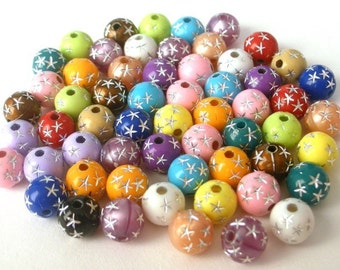 60 multicolored acrylic star beads, 8mm rainbow round mix with star design, 8mm colorful mix, lightweight rainbow