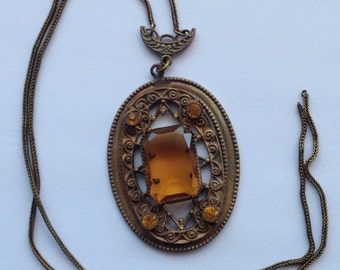 Sale Vintage Large Topaz Rhinestone Pendant Necklace
