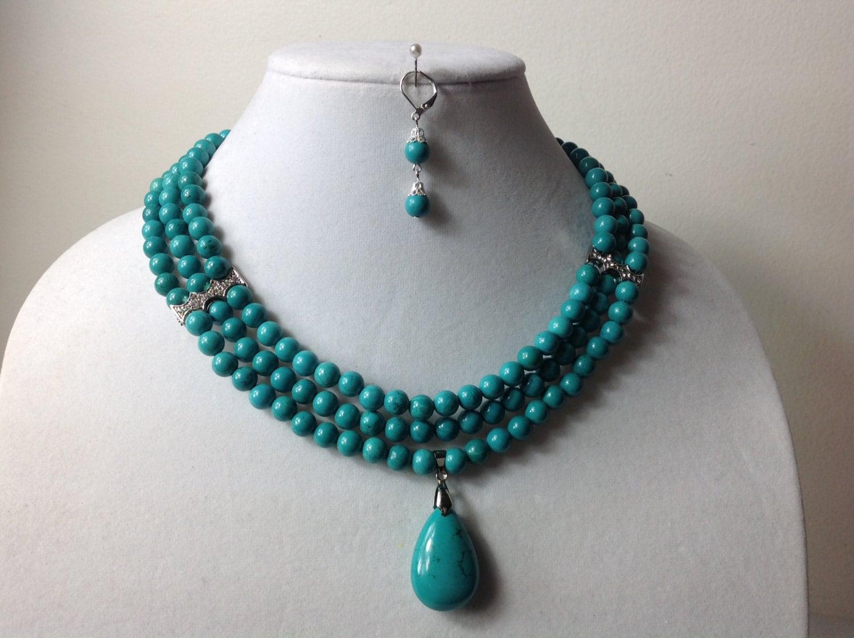 Elegant Turquoise Gem Stone Bead Necklace Set Nigerian