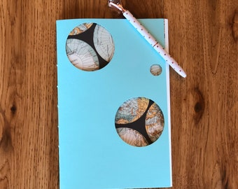 40 page journal with light blue cover and map fly sheet