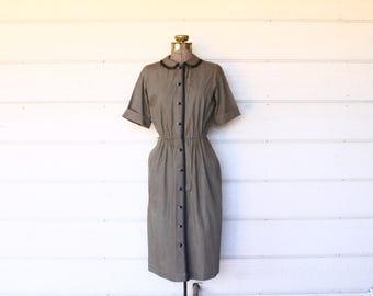 40s dress - 1940s army grreen shirtwaist dress -button front day dress - war time work dress - mad men secretary - cotton dress medium