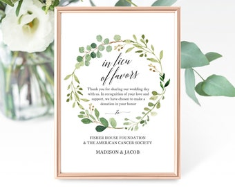 Greenery Wedding In Lieu of Favors Sign Template, Printable In Lieu of Favors Sign Template, Wedding Sign, PDF Instant Download, MM07-1
