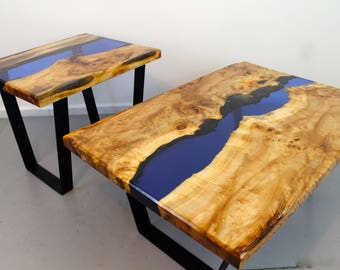 Resin river coffee and side table