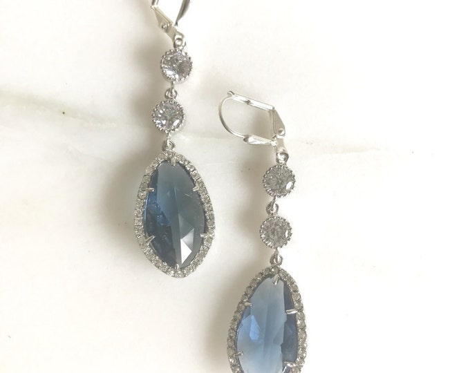 Bridal Statement Earrings with Sapphire Blue and Clear Crystals in Silver.  Long Bridal Crystal Earrings. Wedding Jewelry. Bridal Earrings.