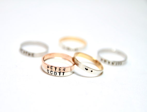 Dainty Name Ring | Personalized Ring | Custom Message Ring | Stacking Rings | Initial Ring | Roman Numeral Ring | Skinny Custom Ring