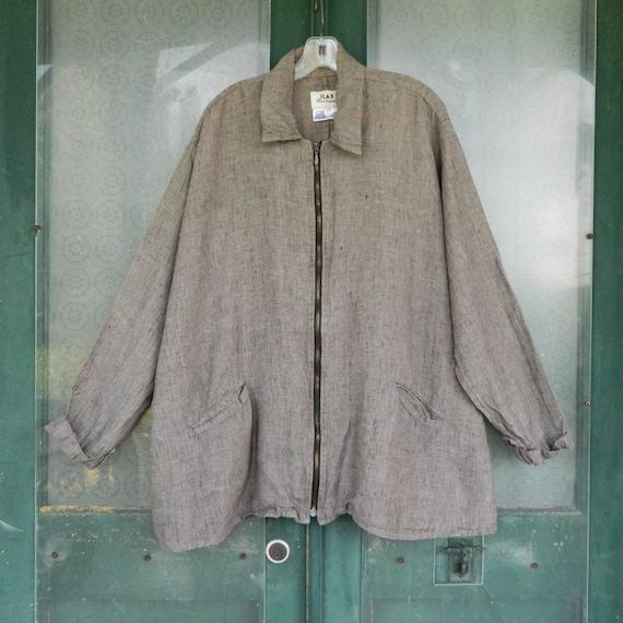 FLAX Engelheart Retro Zip Jacket -1G/1X- Yarn-Dyed Granite Linen