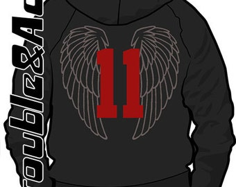 Add a Name, Jersey Number, or Large Wings, to the Back of Your Custom Sweatshirt