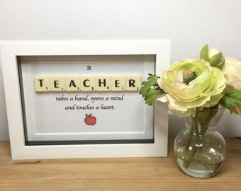 Scrabble wall art, Scrabble picture, Thank you teacher, Teacher Gift, Gift for teacher, Teacher, Leaving School gift