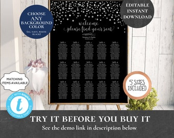 Wedding Seating Chart Table Assignment Poster Reception Dinner Table Name Board Find Your Seat Plan Confetti Black Silver Navy White PCSCWS