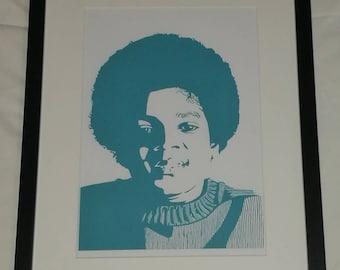 Framed giclée print of Michael Jackson