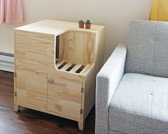 Other Finishes Available] Unique Jumbo Modern Wooden Cat Litter Cabinet/  Fully Assembled/ Easy